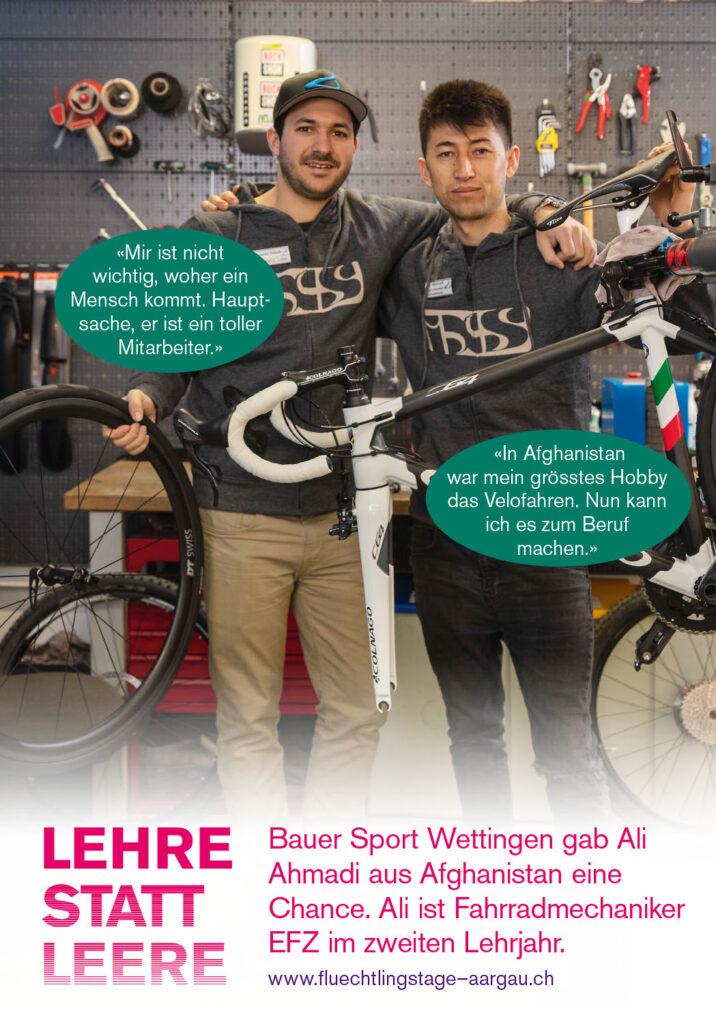 Lehre statt Leere: Bauer Sport Wettingen gab Ali Ahmadi aus Afghanistan eine Chance. Ali ist Fahrradmechaniker EFZ im zweiten Lehrjahr.