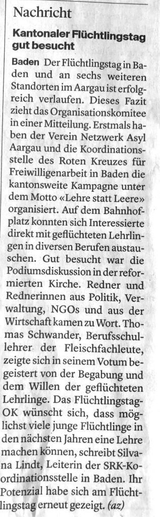 Kantonaler Flüchtlingstag gut besucht, Badener Tagblatt, 22. Juni 2021 (Flüchtlingstage Aargau)