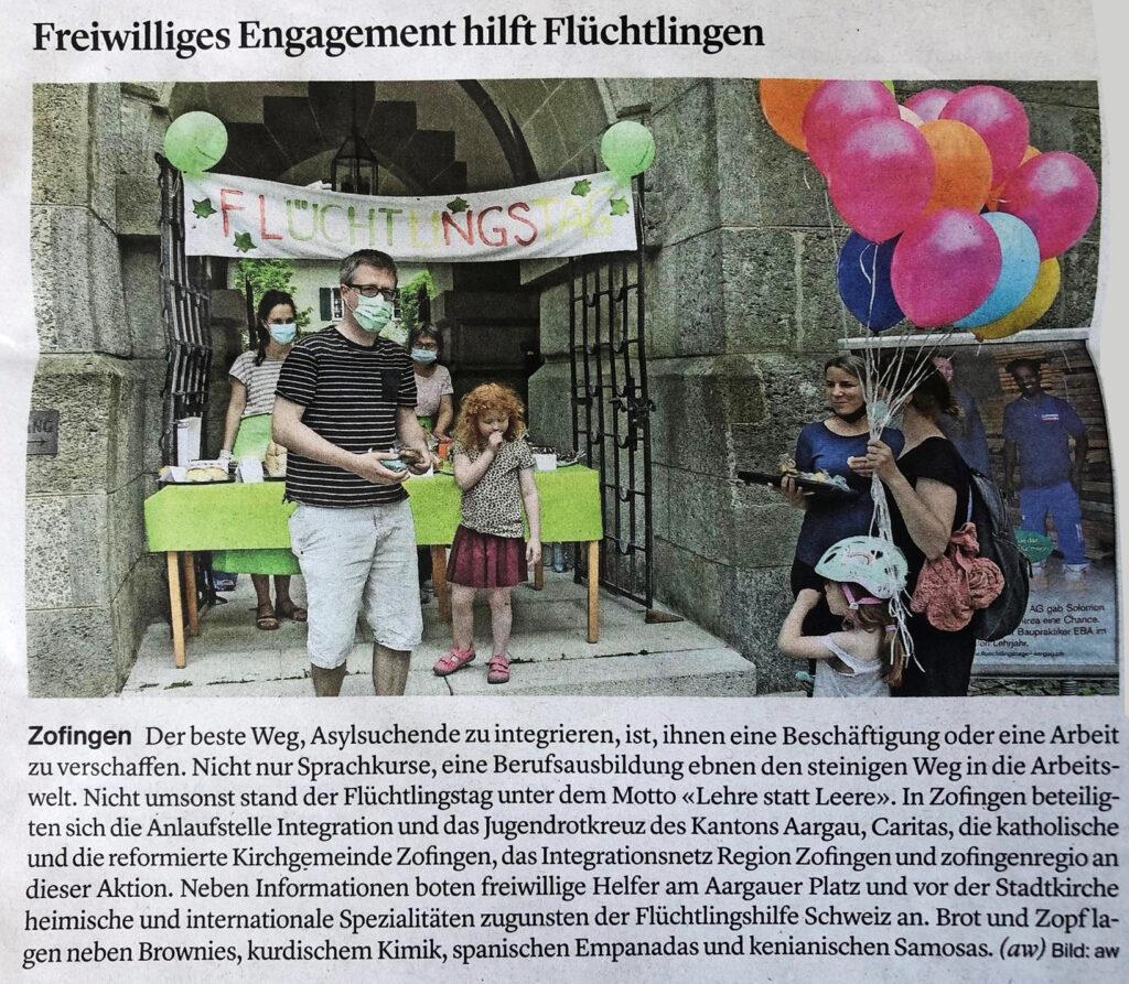 Freiwilliges Engagement hilft Flüchtlingen, Zofinger Tagblatt, 21. Juni 2021 (Flüchtlingstage Aargau)